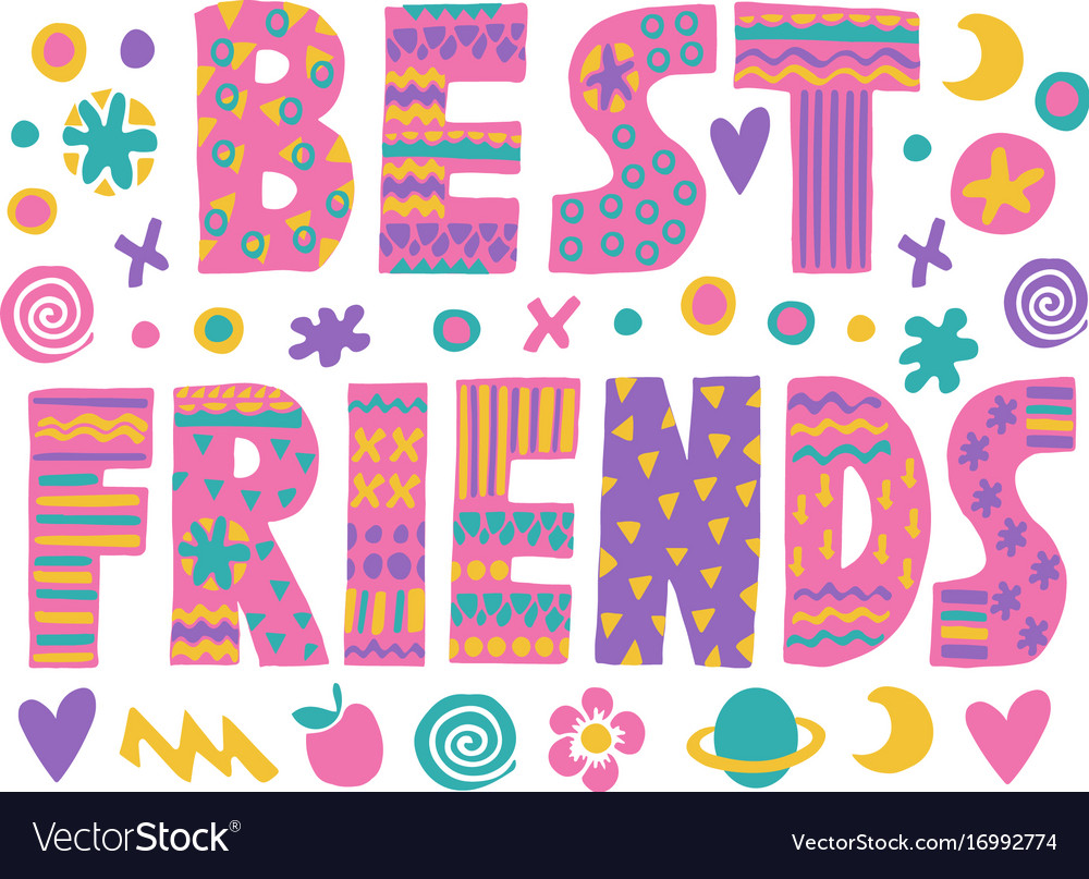 Word Art Best Friends Royalty Free Vector Image
