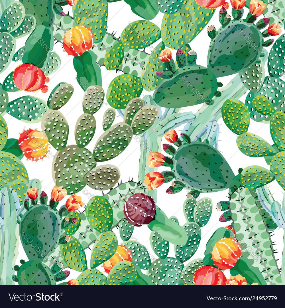 Cactus seamless pattern white background