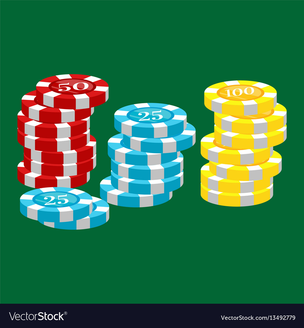 Casino poker chip for risk game in vegas lucky vector image