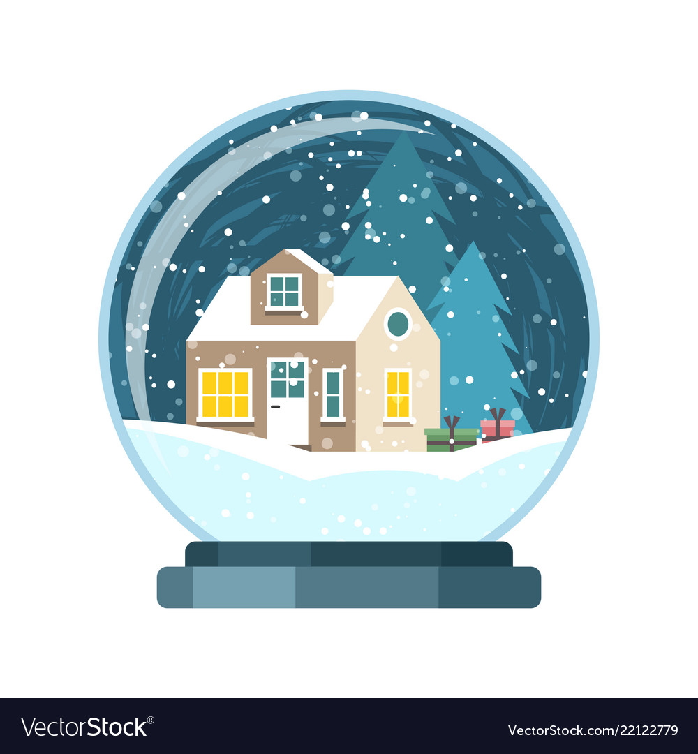 Christmas snow globe with house and trees