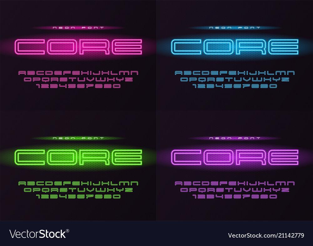 Core glowing neon futuristic font typeface