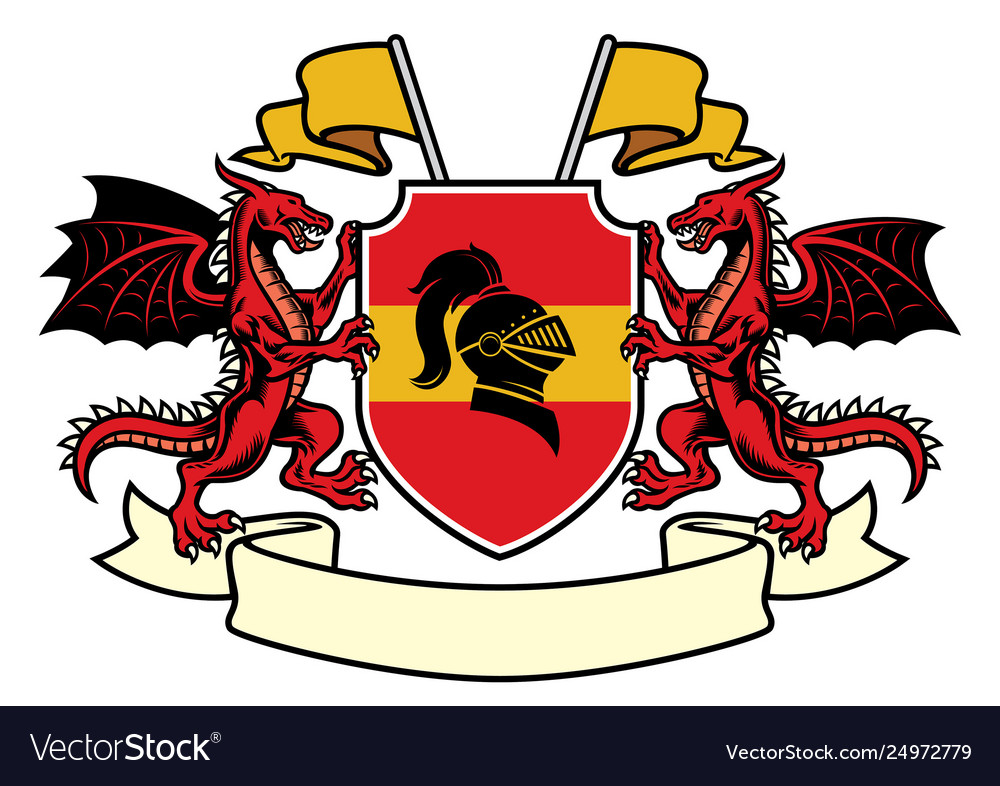 Dragon heraldry set in classic coat arms style