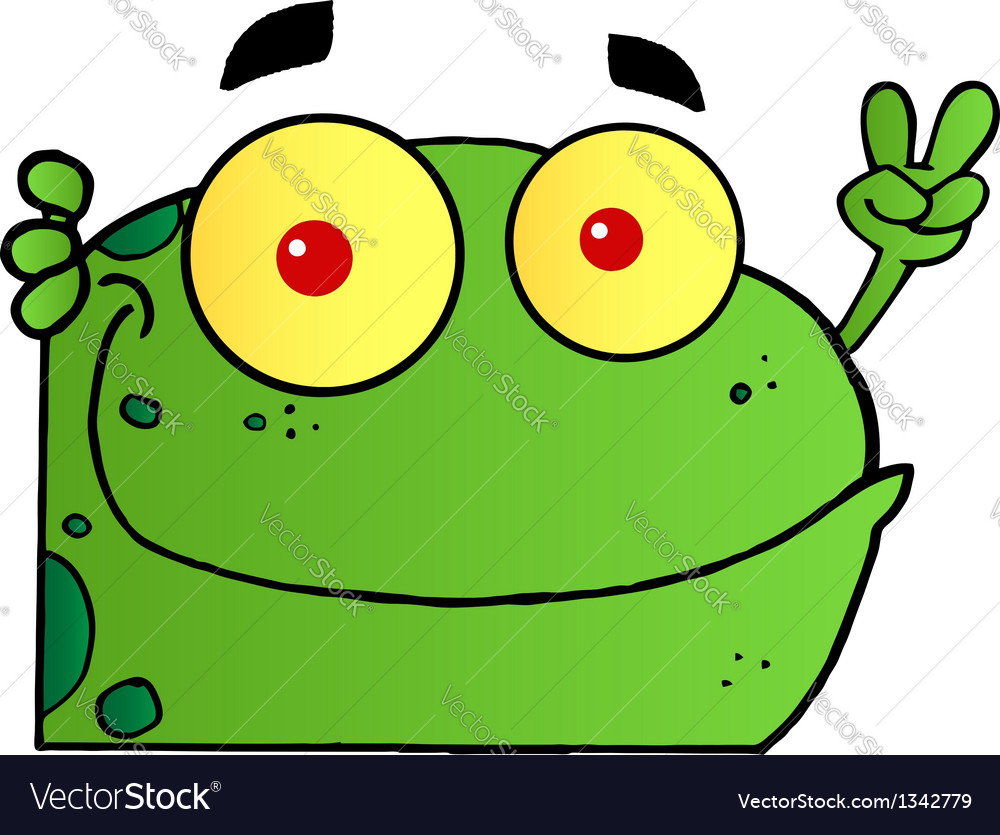 frog gesturing the peace sign with his hand vector image rh vectorstock com Turtle Vector Vector The Crocodile
