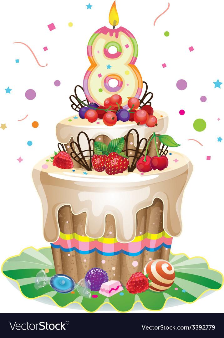 Astounding Happy Birthday Cake 8 Royalty Free Vector Image Funny Birthday Cards Online Eattedamsfinfo