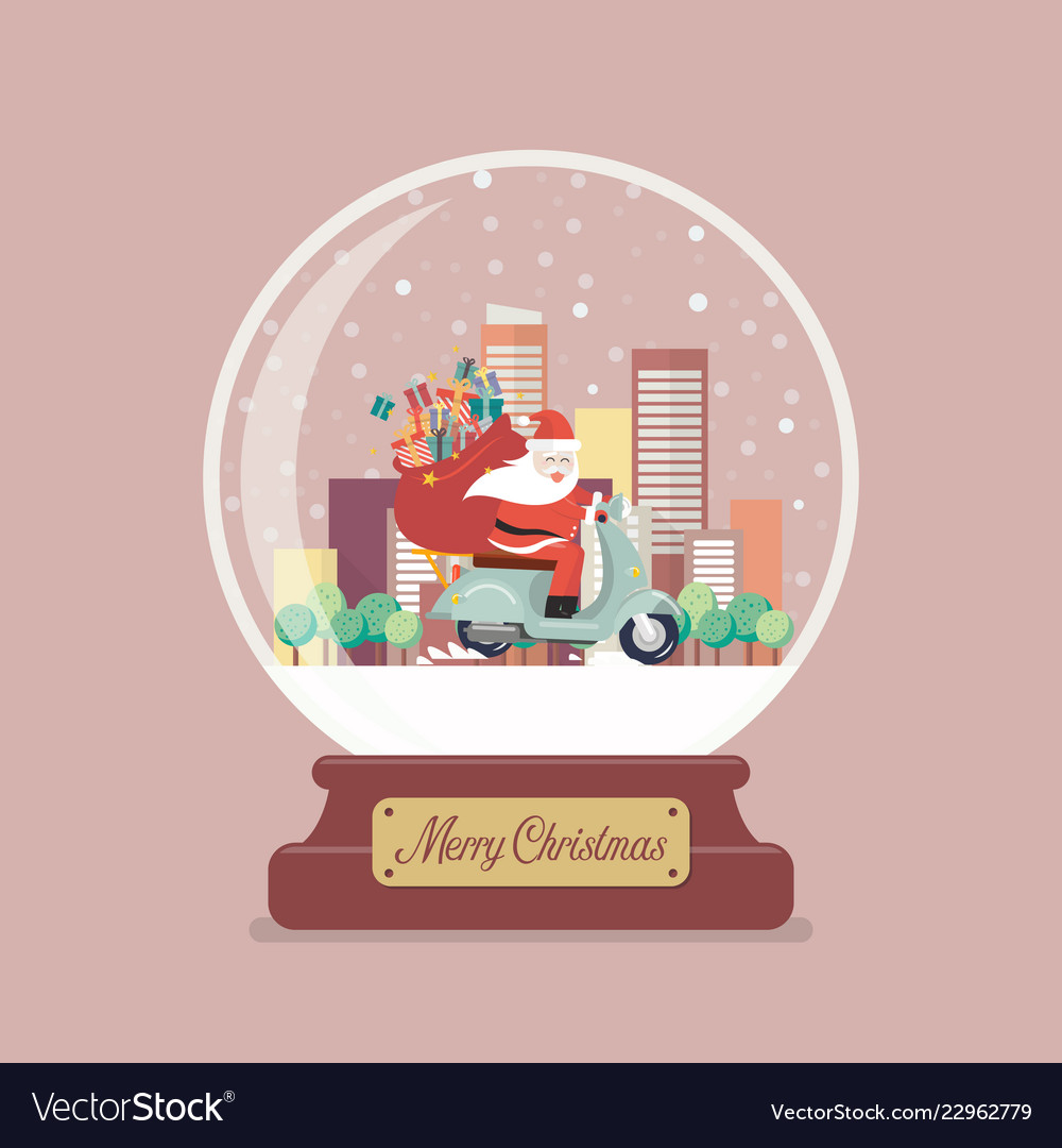 Merry christmas glass ball with santa claus stuck