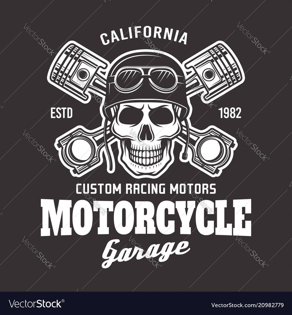 Motorcycle biker emblem with skull on dark