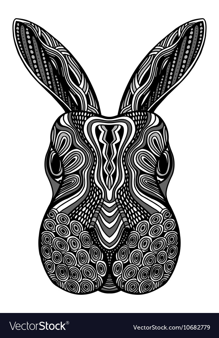Rabbit head zentangle