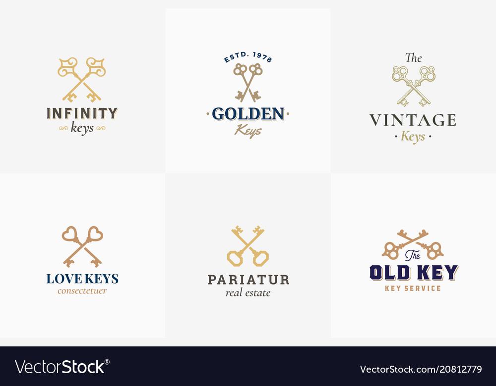 Retro key emblems set abstract vector image