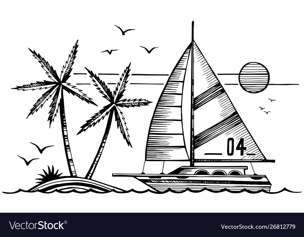 Sailing yacht and island in sea sketch