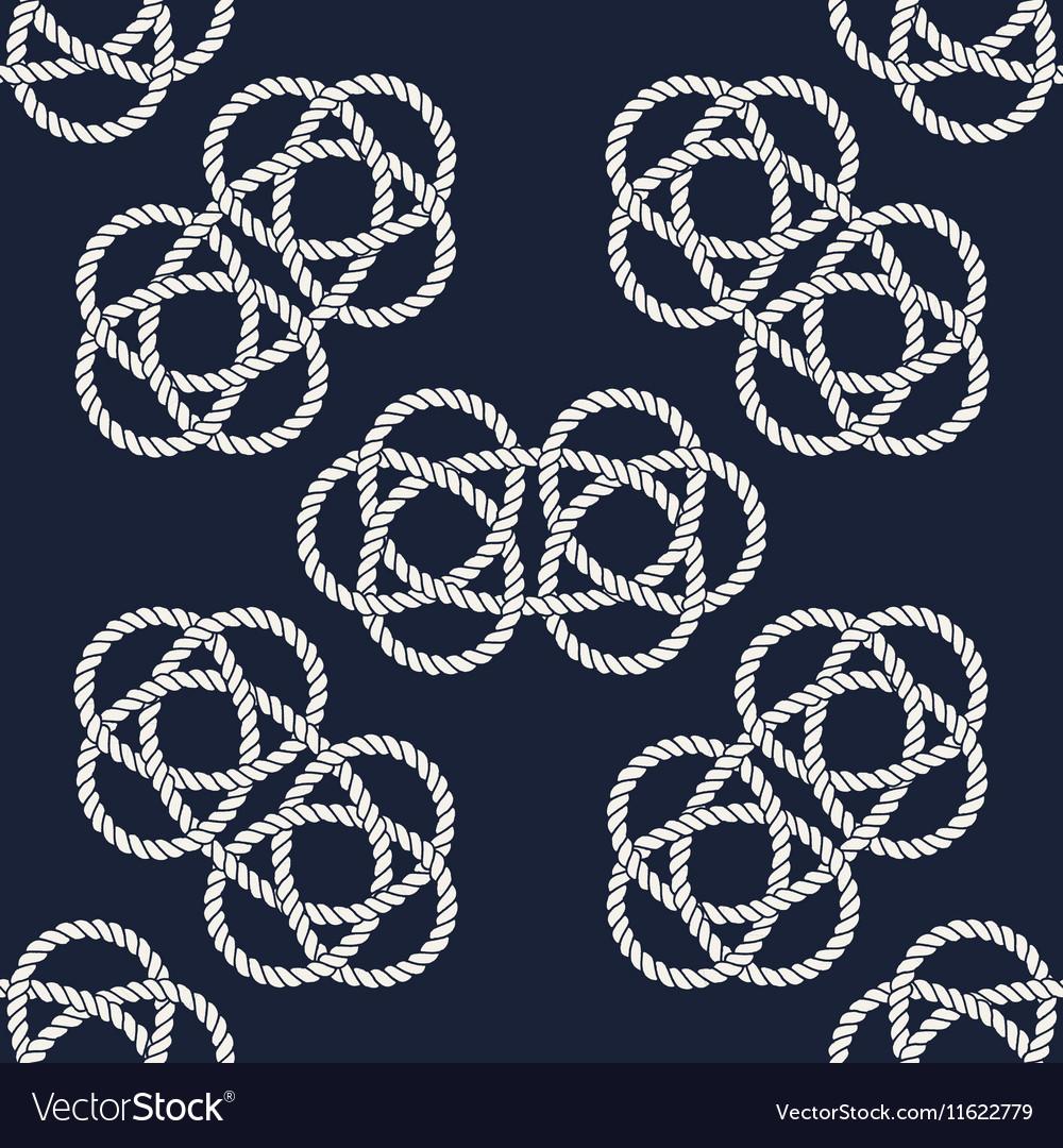 Seamless nautical rope pattern Carrick Bend knot