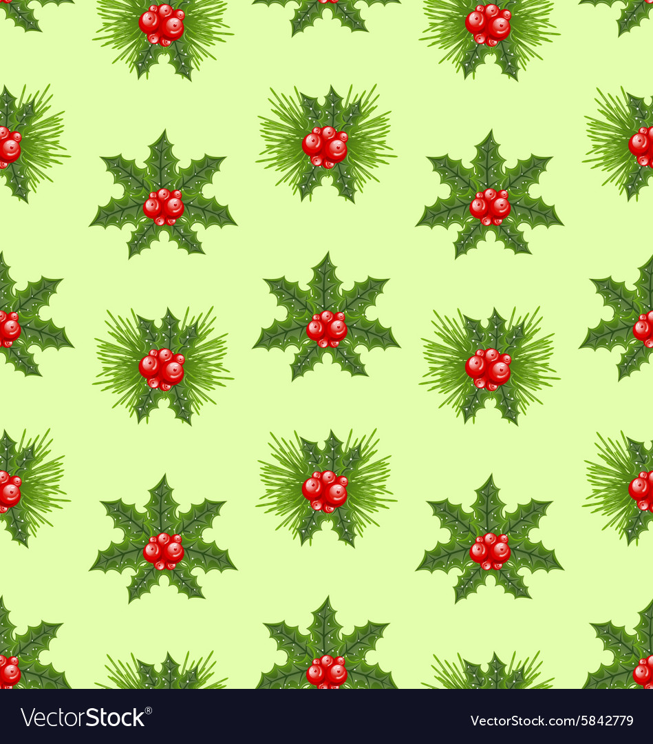 Seamless pattern christmas holly berry background