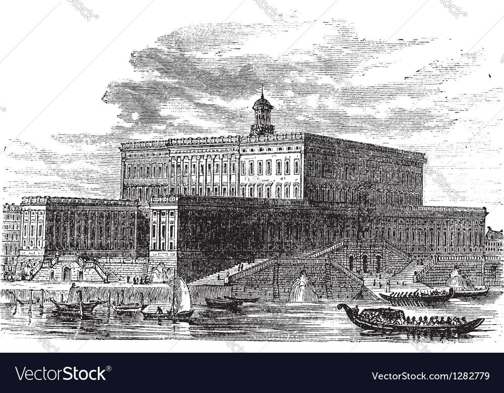 Stockholm Palace vintage engraving vector image