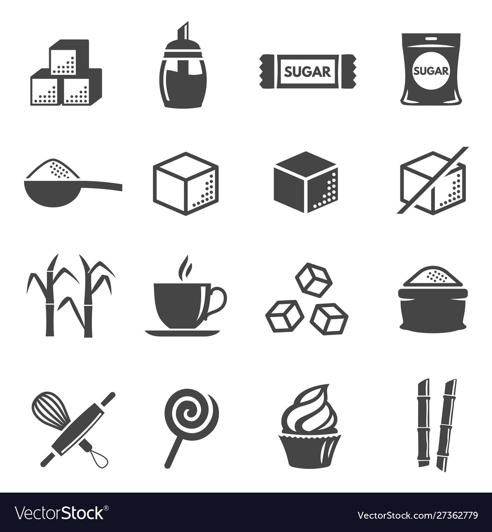 Sugar and confectionery black glyph icons