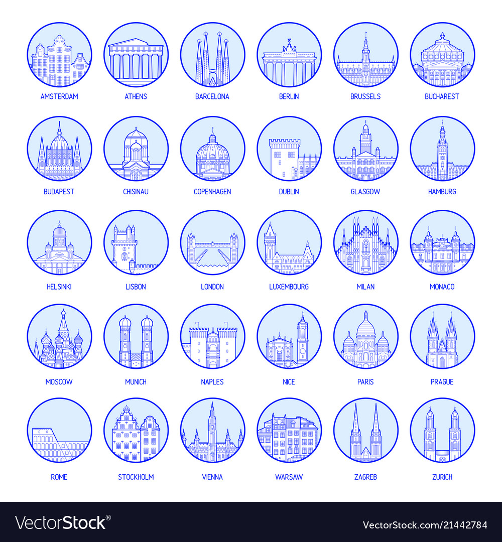Big collection badges european cities
