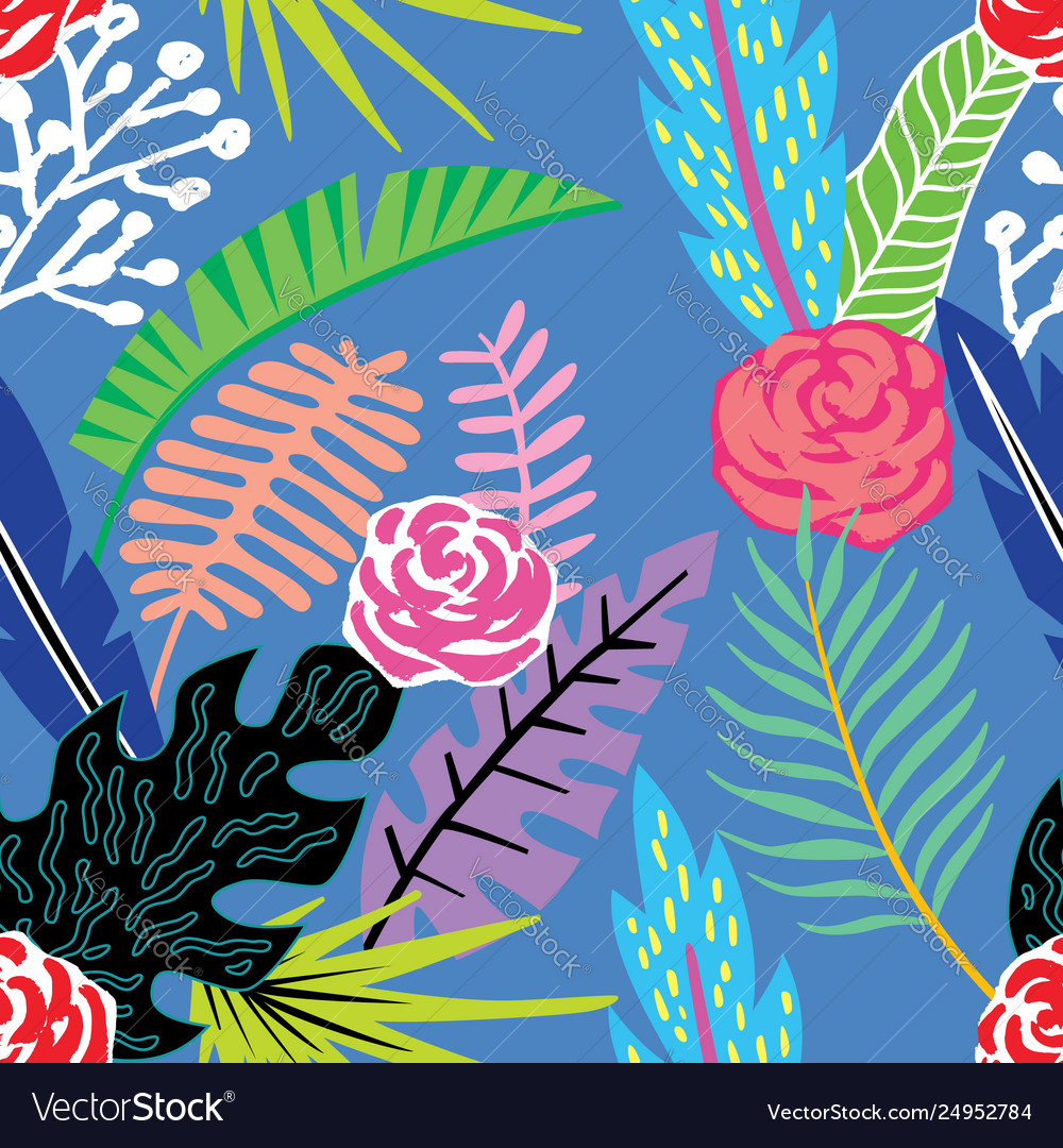 Cartoon tropical flowers and leaves seamless blue