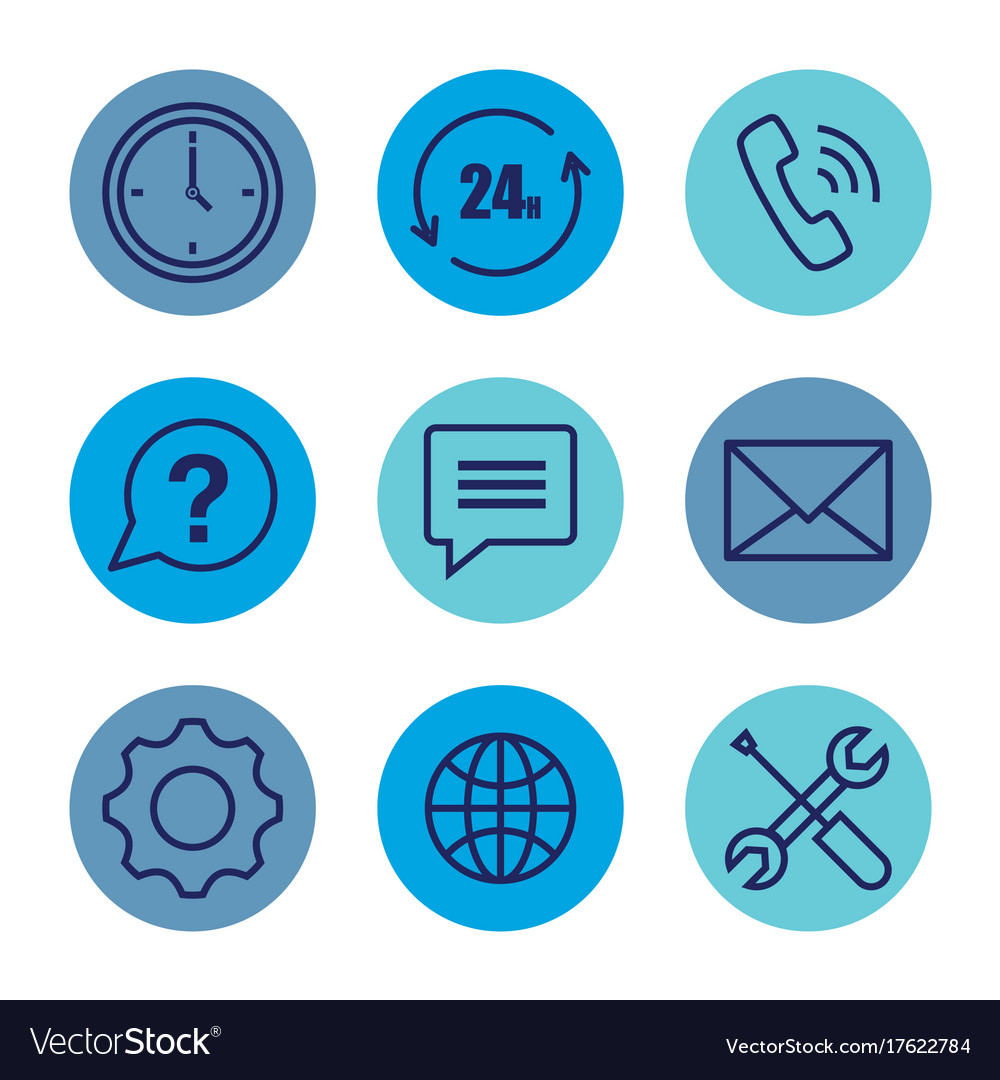 Customer service set icons vector image