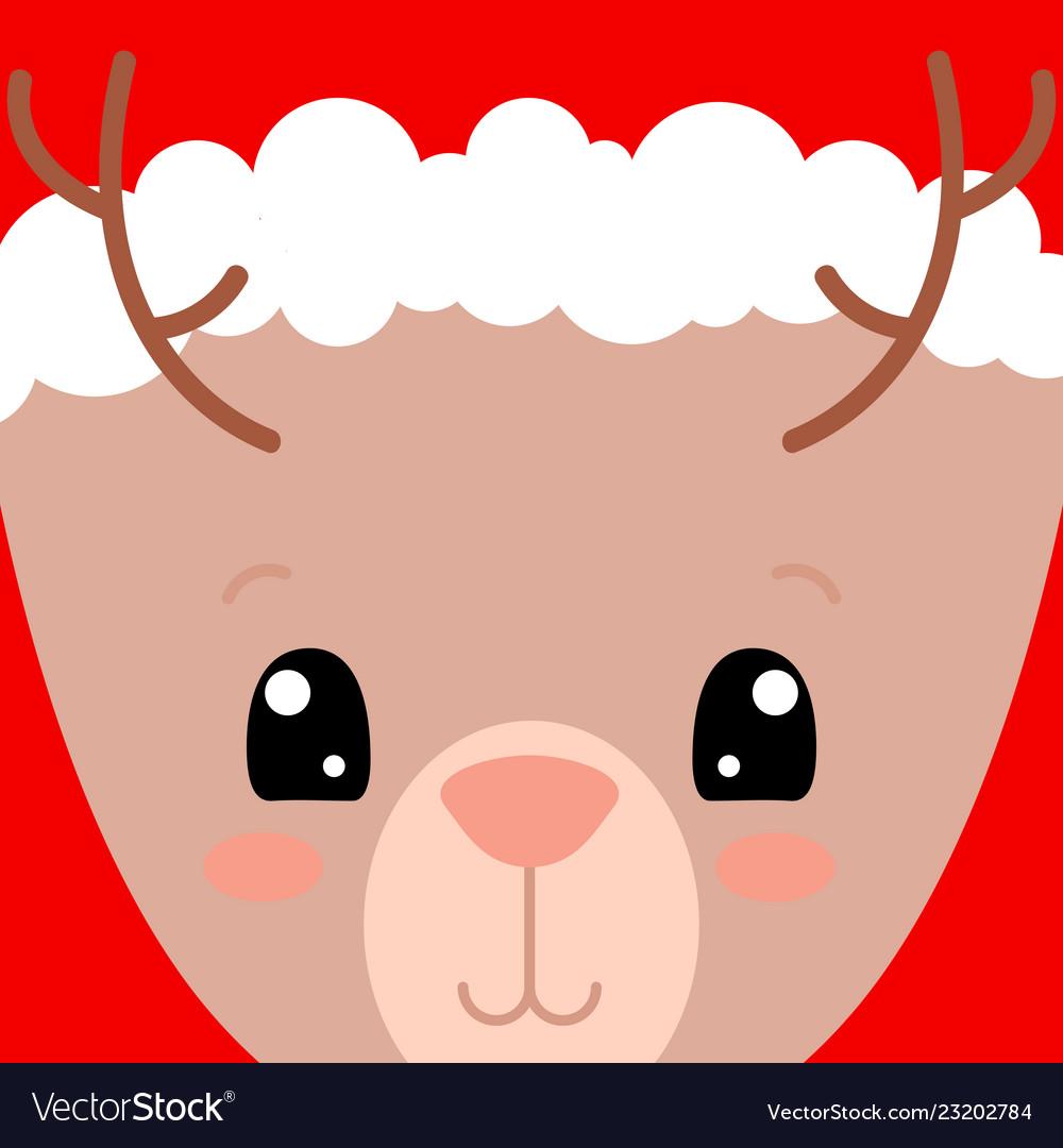 Cute deer face card santa claus hat on deer
