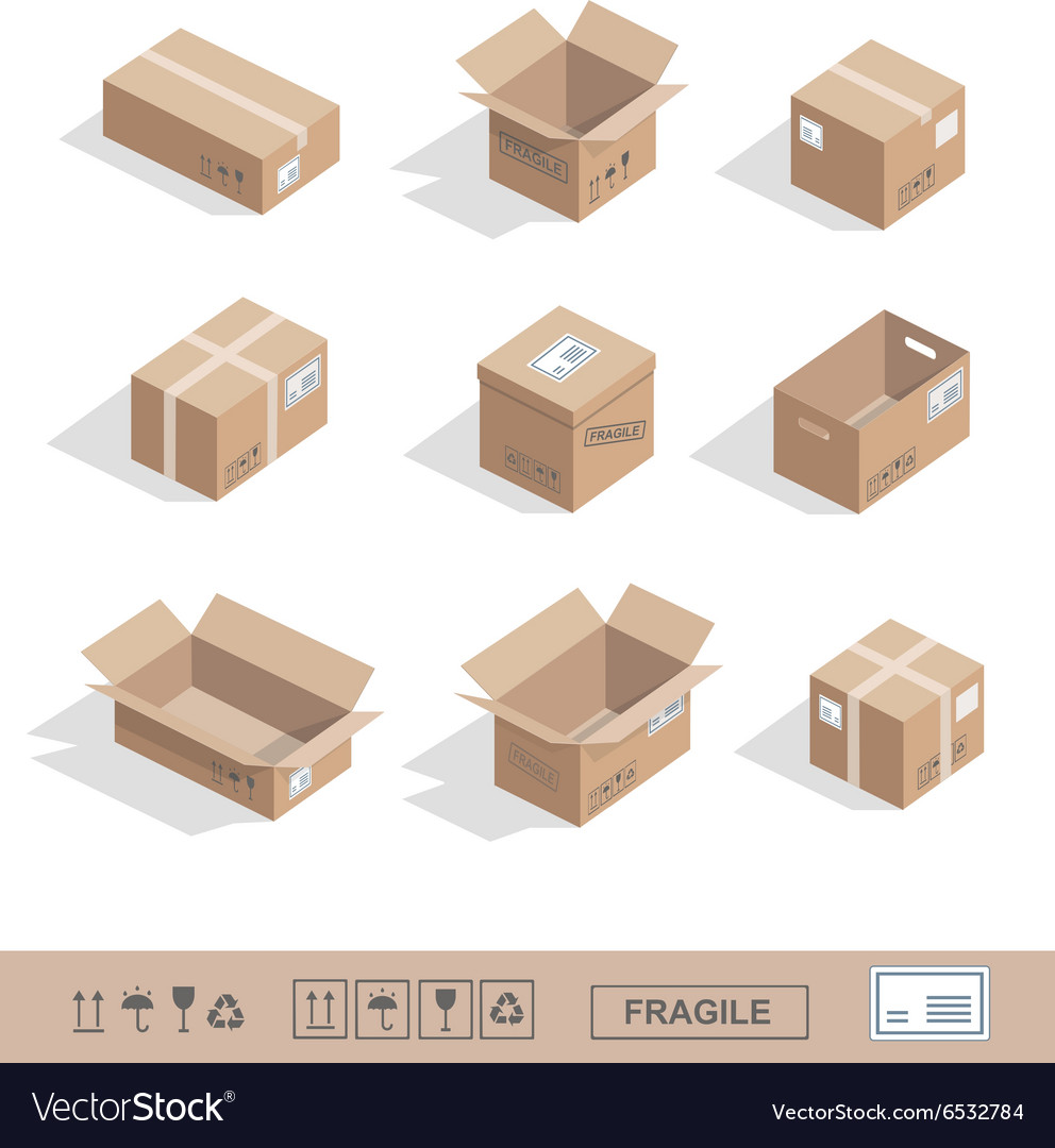 Delivery cardboard collection icons Opened closed