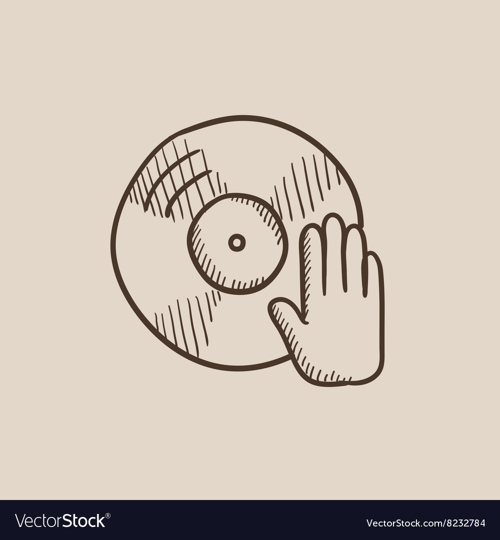 Disc with dj hand sketch icon