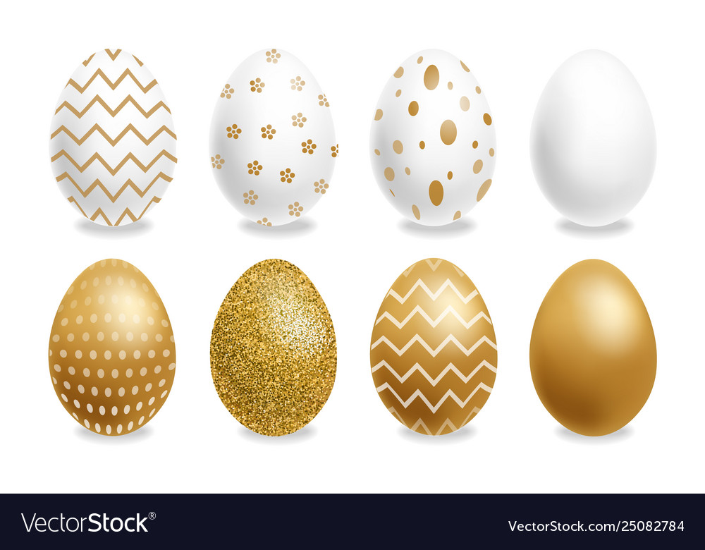 Easter painted golden eggs realistic