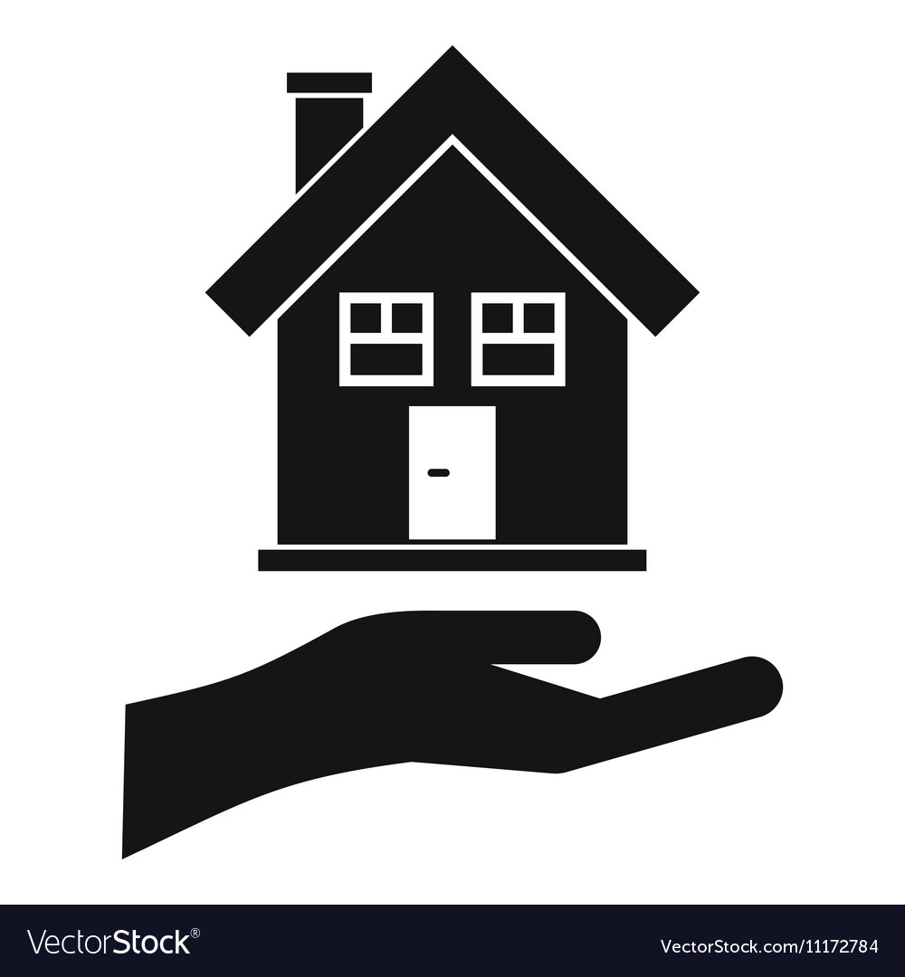 Hand holding house icon simple style