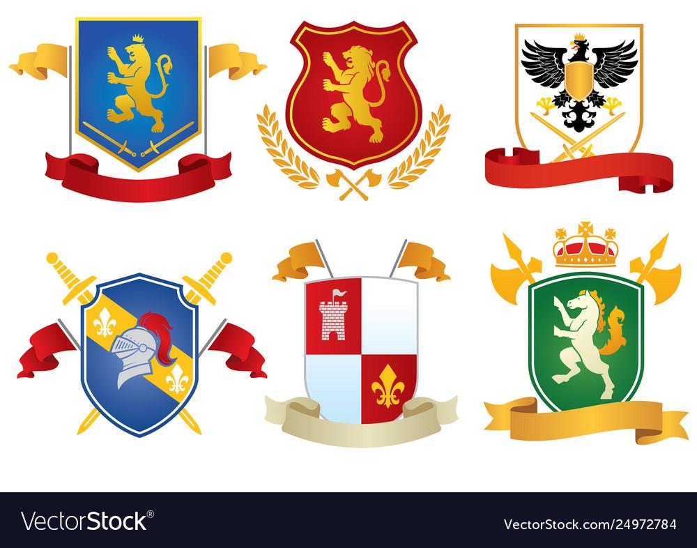Heraldic shield set collection