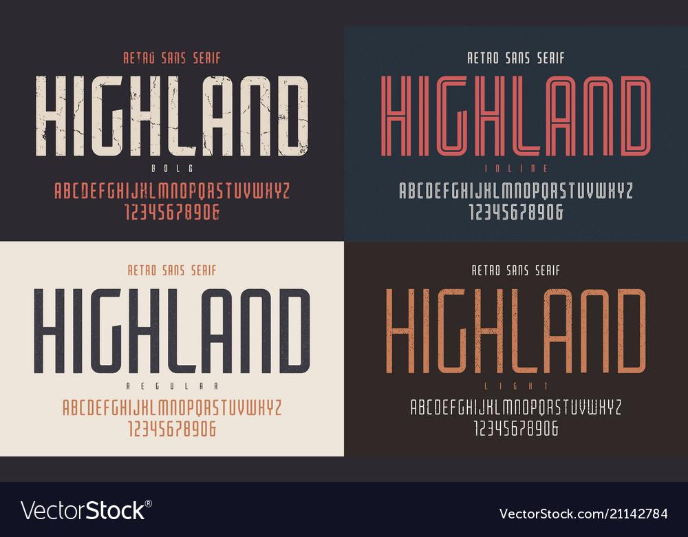 Highland condensed bold inline regular and