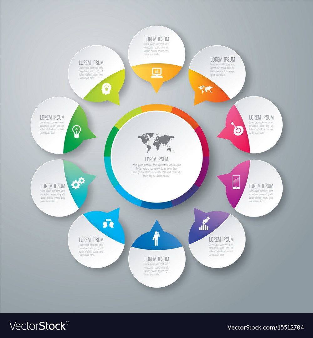 Infographics design with 10 options vector image