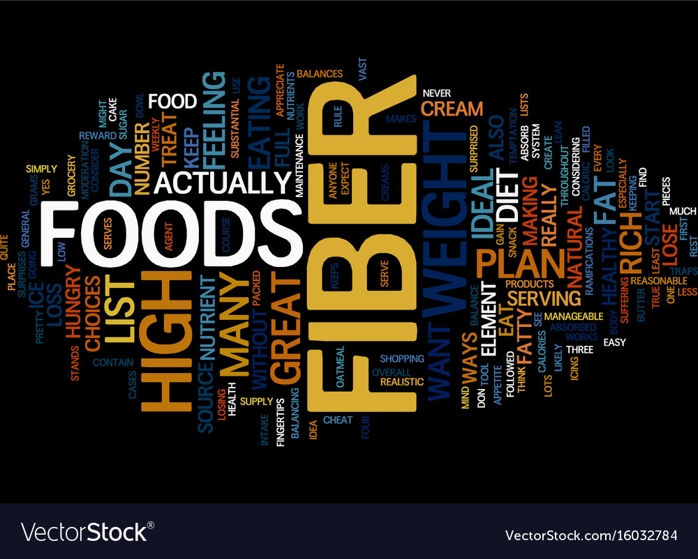 list of high fiber foods text background word vector image