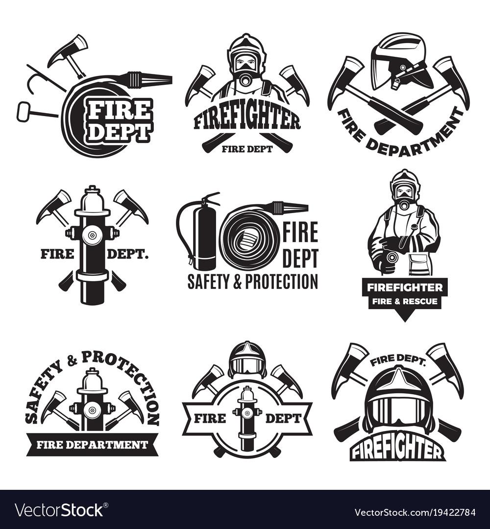 monochrome labels set for fire department vector image