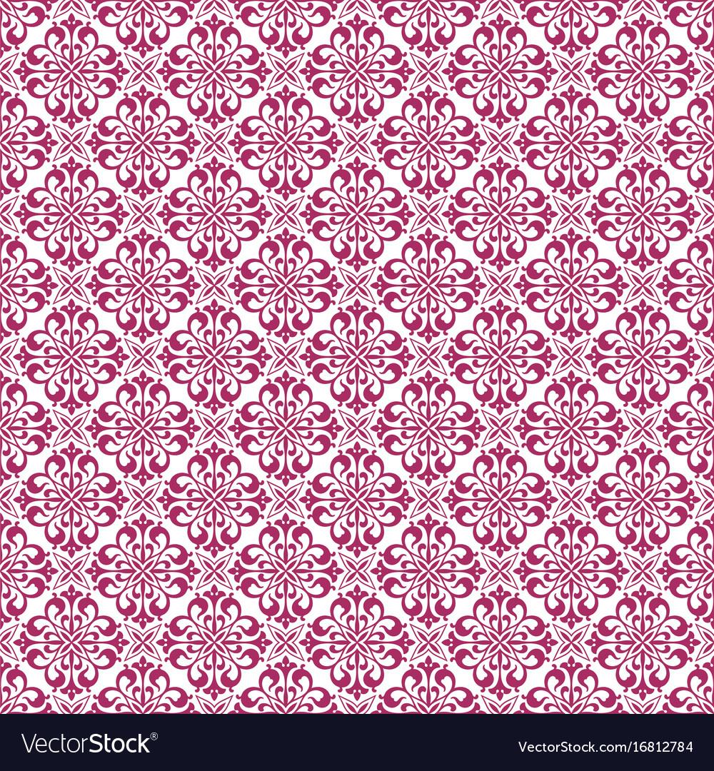 Pink Damask Seamless Pattern Background Vector Image