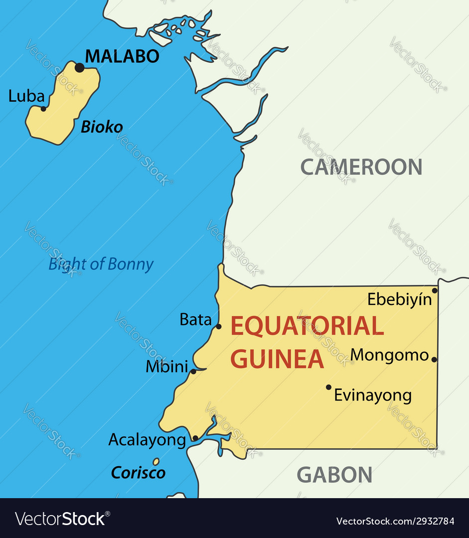Republic of Equatorial Guinea - map Royalty Free Vector