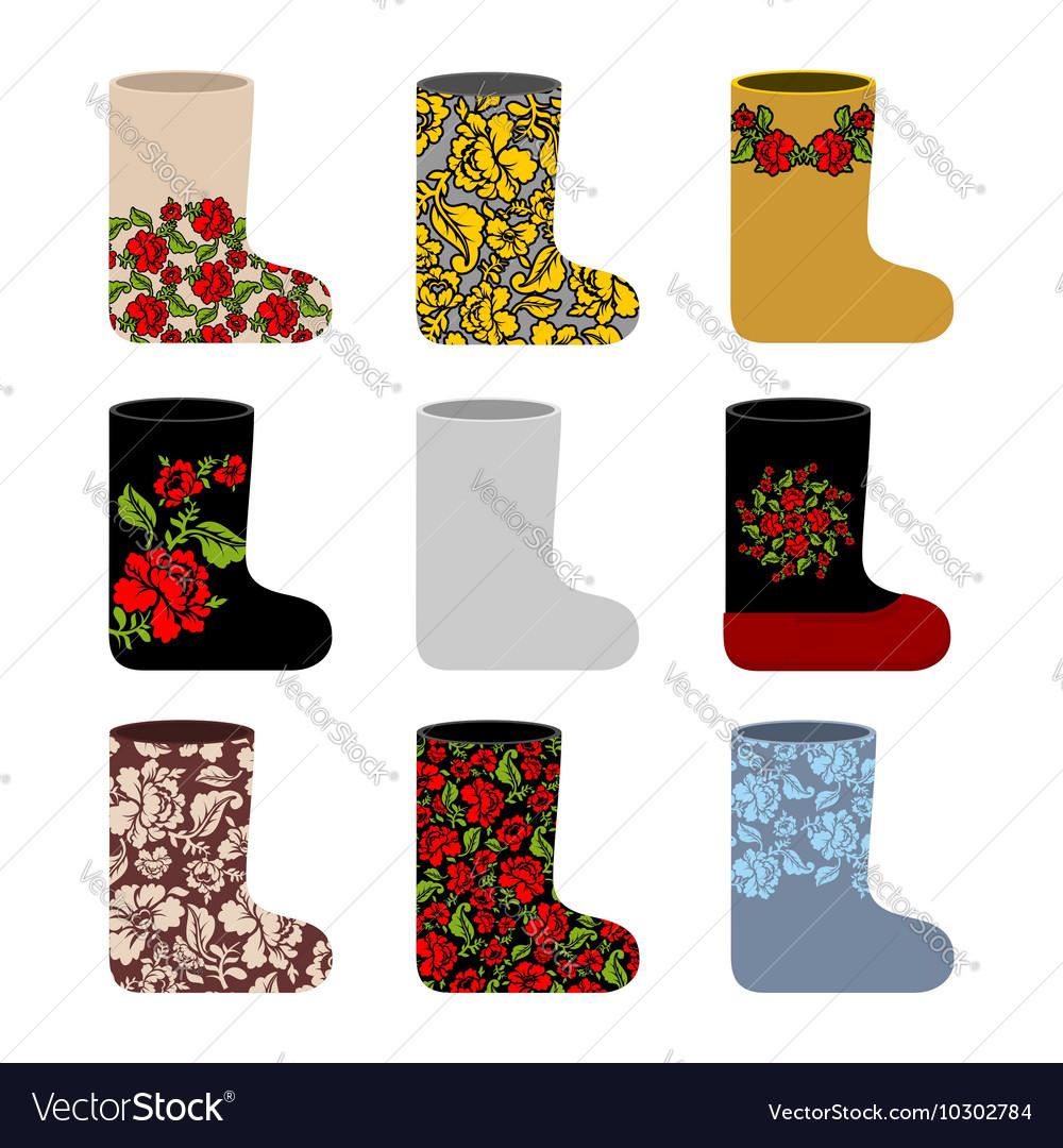 Set national Russian winter footwear Traditional