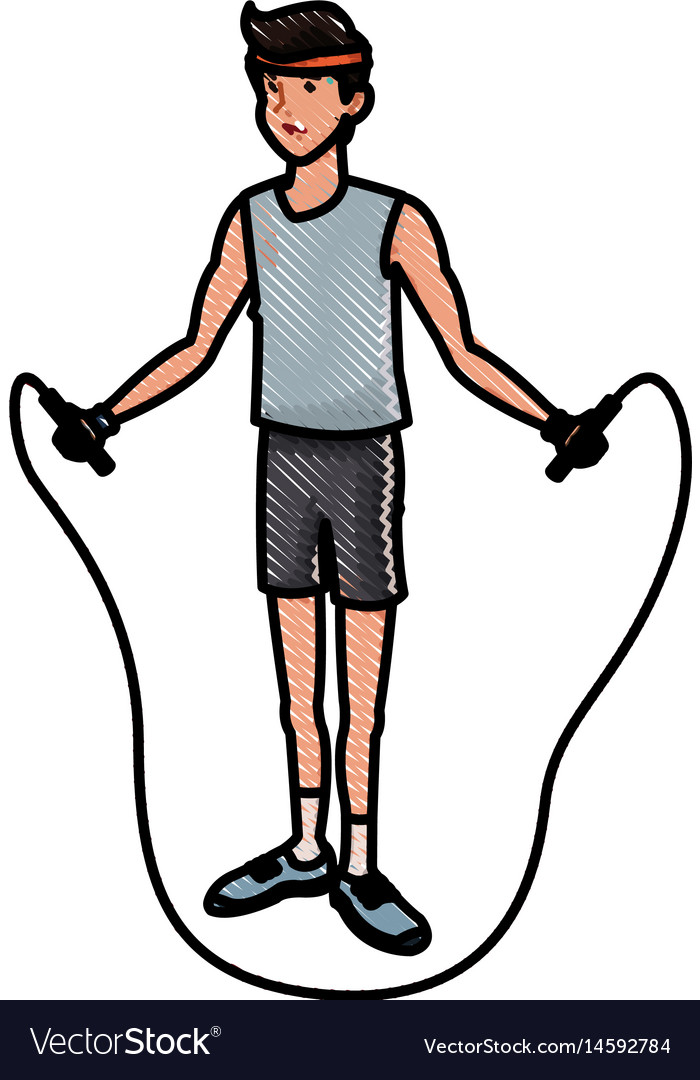 sport man jump rope fitness active draw royalty free vector