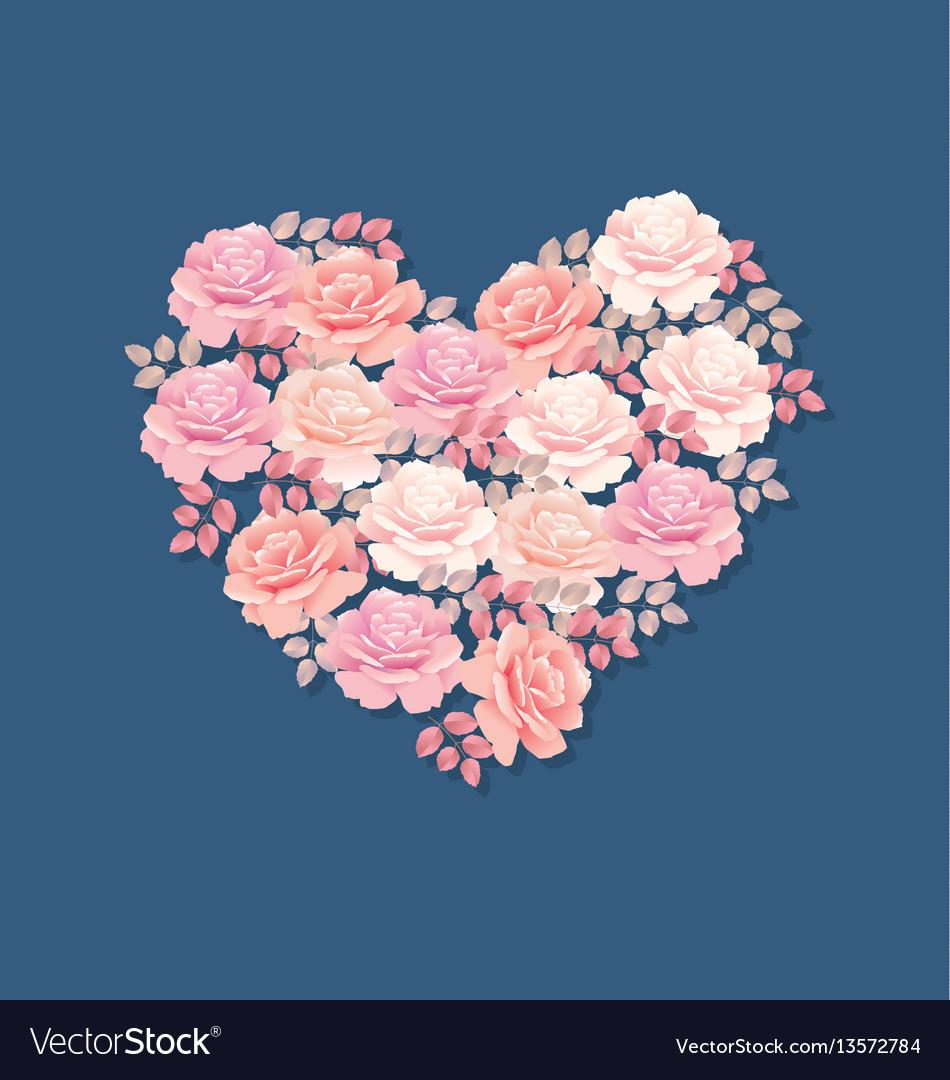 Tender color pink rose bouquet in heart shape