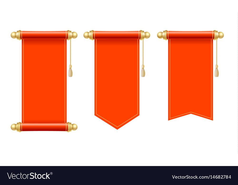 Vintage blank paper scroll set vector image