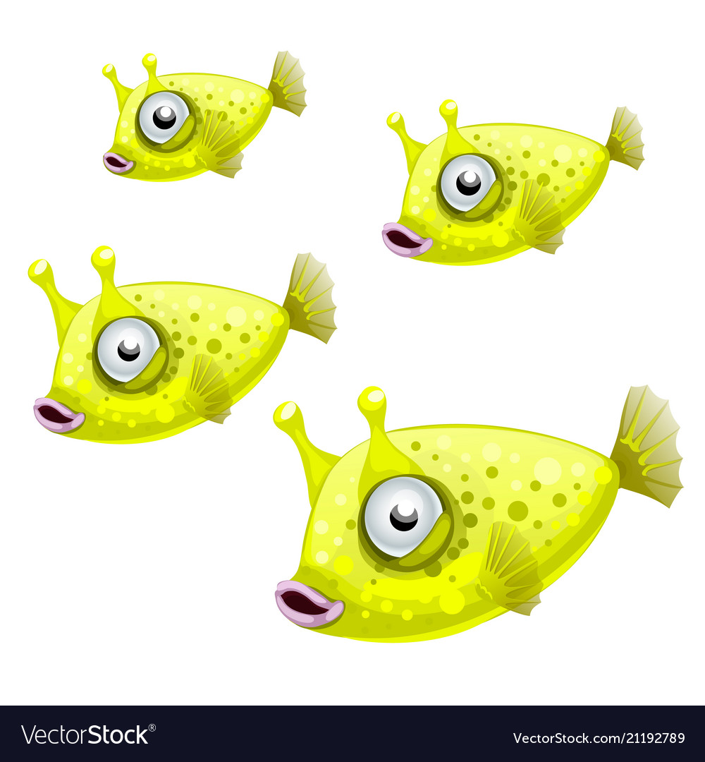 A set of cowfish isolated on white background