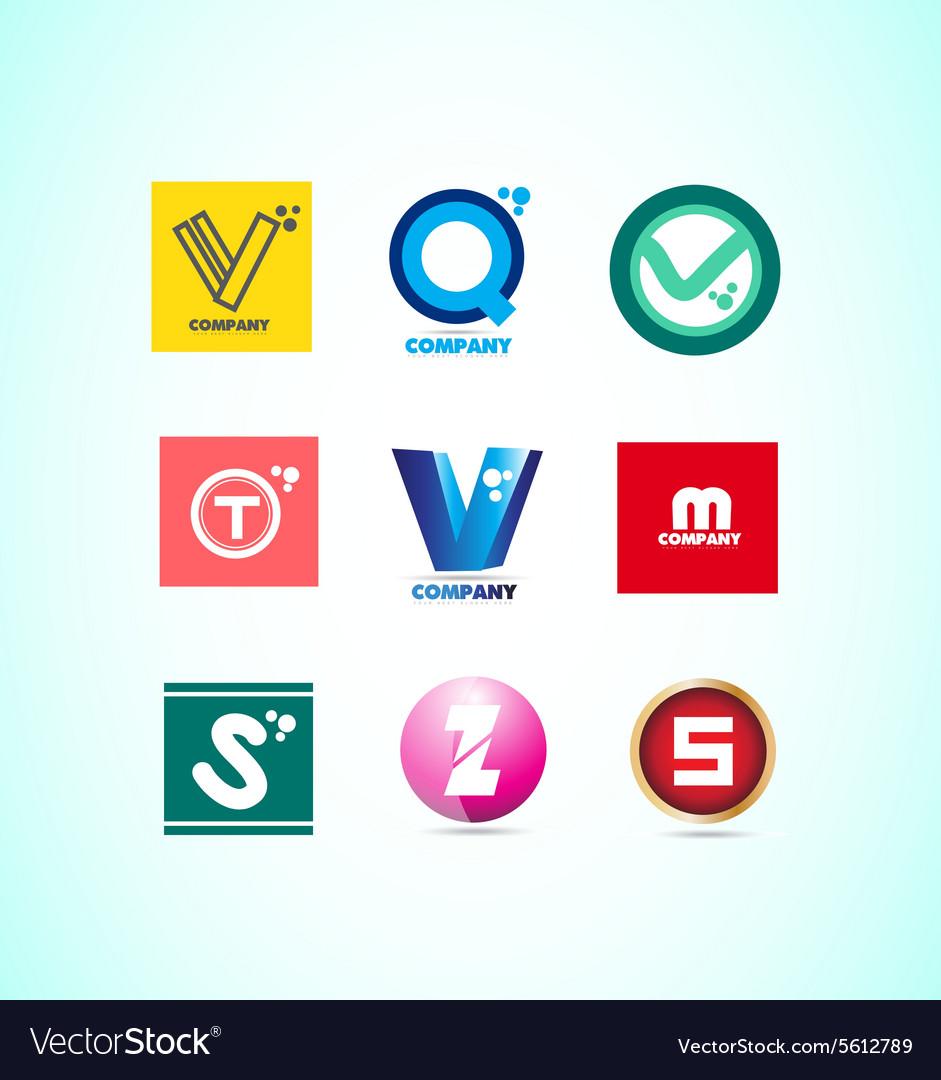 Alphabet letter logo set vector image