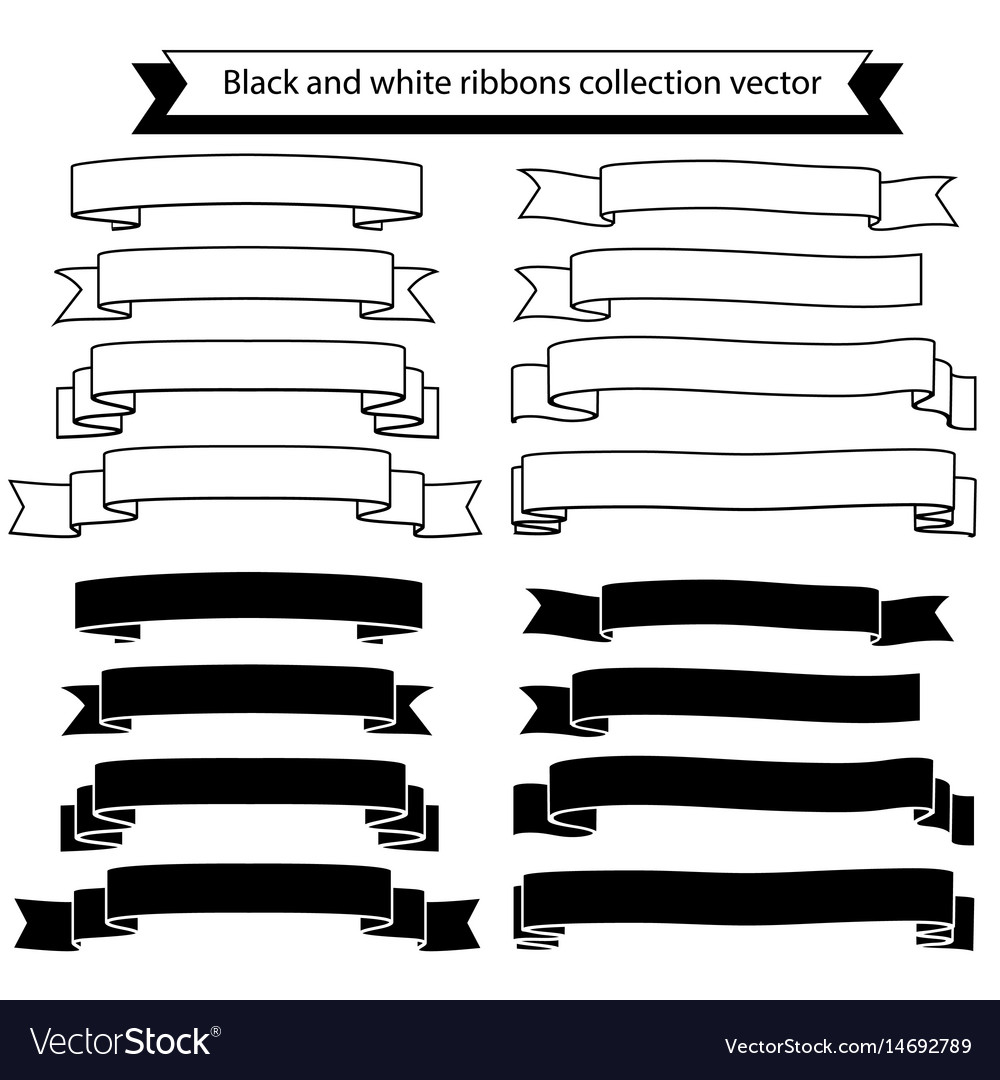 Black and white ribbons collection