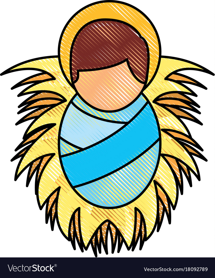 Cartoon Cute Baby Jesus Christ In The Crib Vector Image