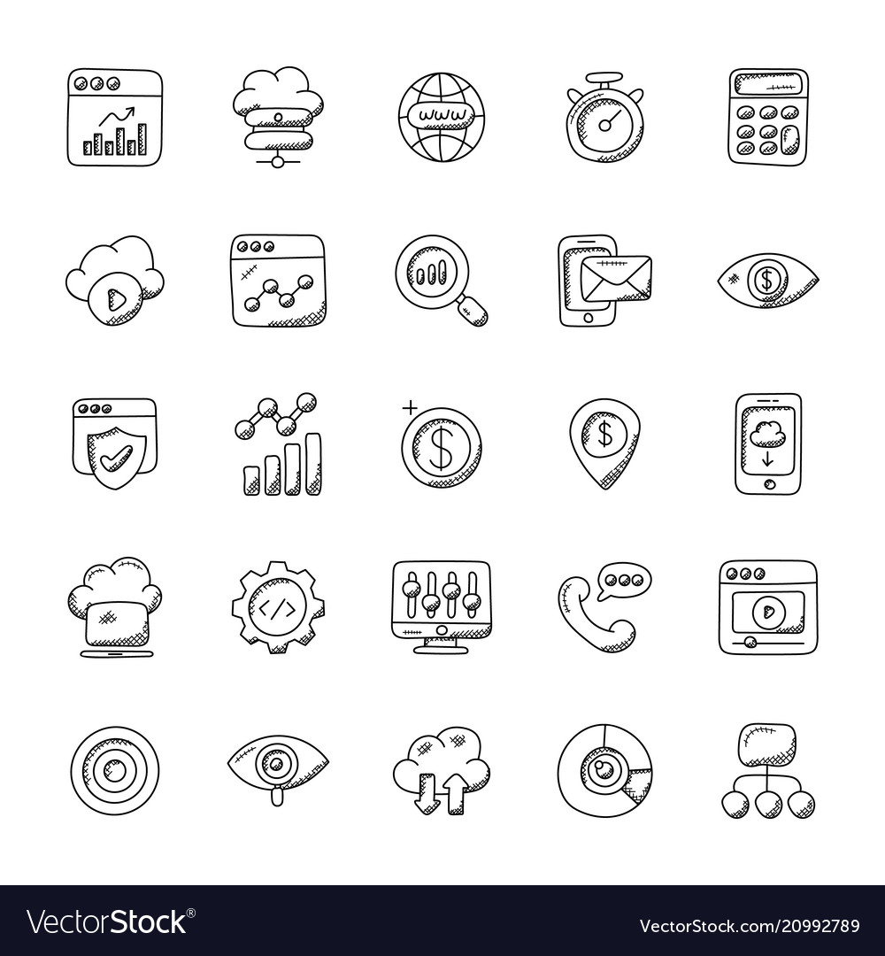 Collection of seo and marketing doodle icons