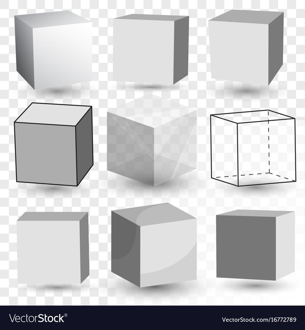 Cube realistic set transparent glass block model