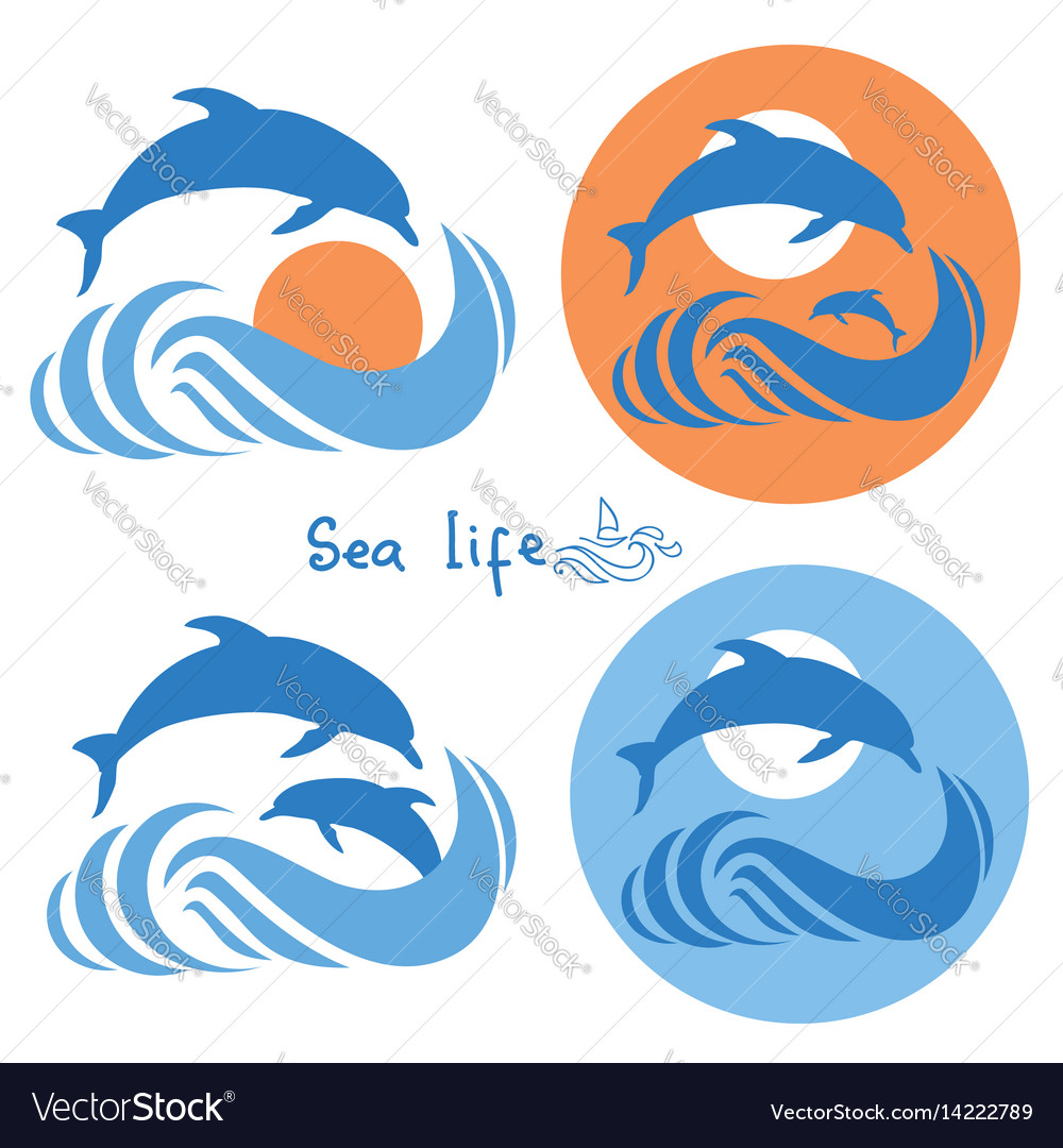 Dolphins jumping in sea logo isolated on white vector image