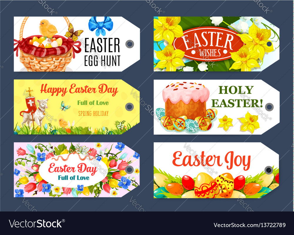Easter egg hunt gift tag and label set design vector image negle Image collections