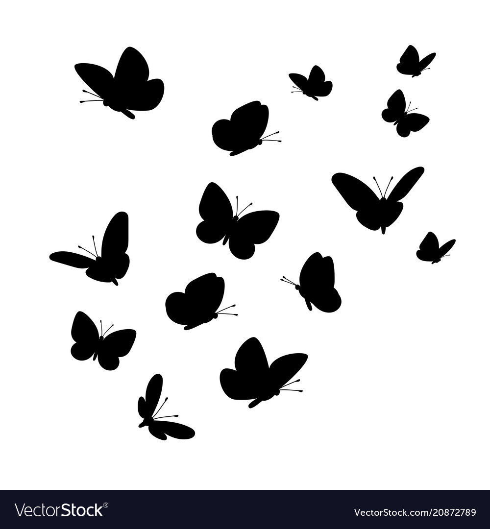 Flying butterflies silhouettes