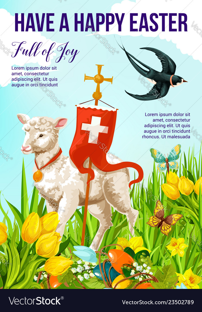 Happy easter holiday banner with lamb and cross