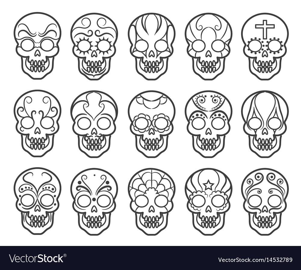 Mexican sugar skull icon set