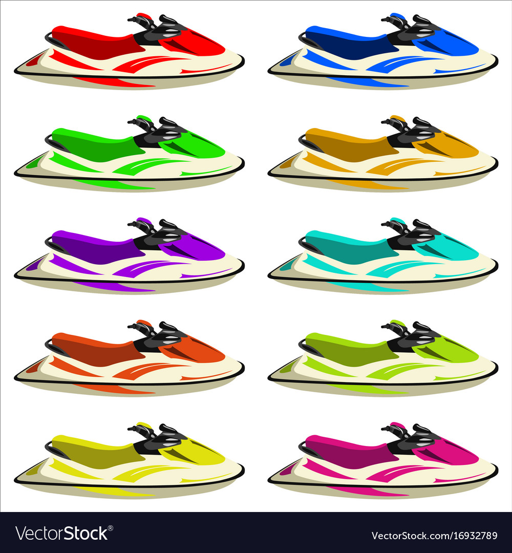 Set of jet skis vector image