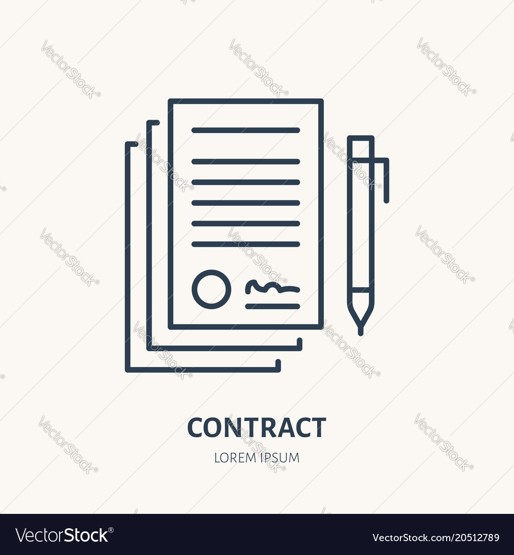 Signing Agreement Contract Flat Line Icon Vector Image