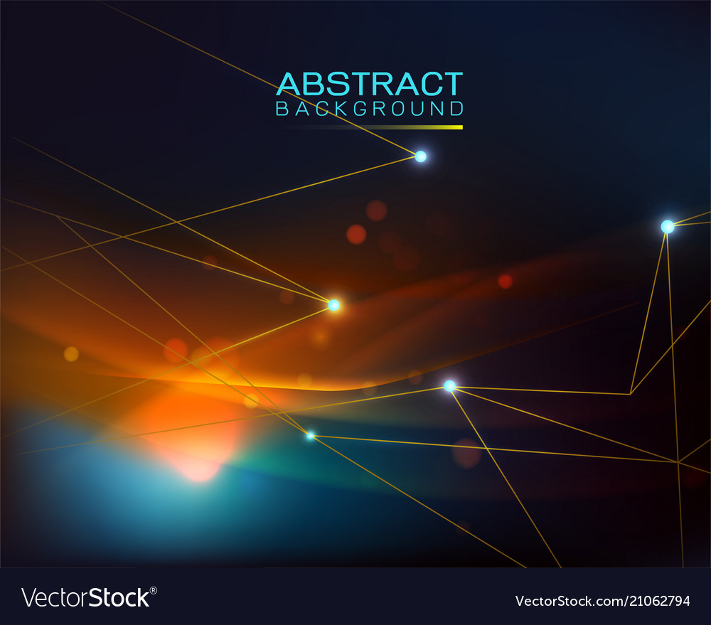 Blurred glowing light curves and mesh pattern vector image